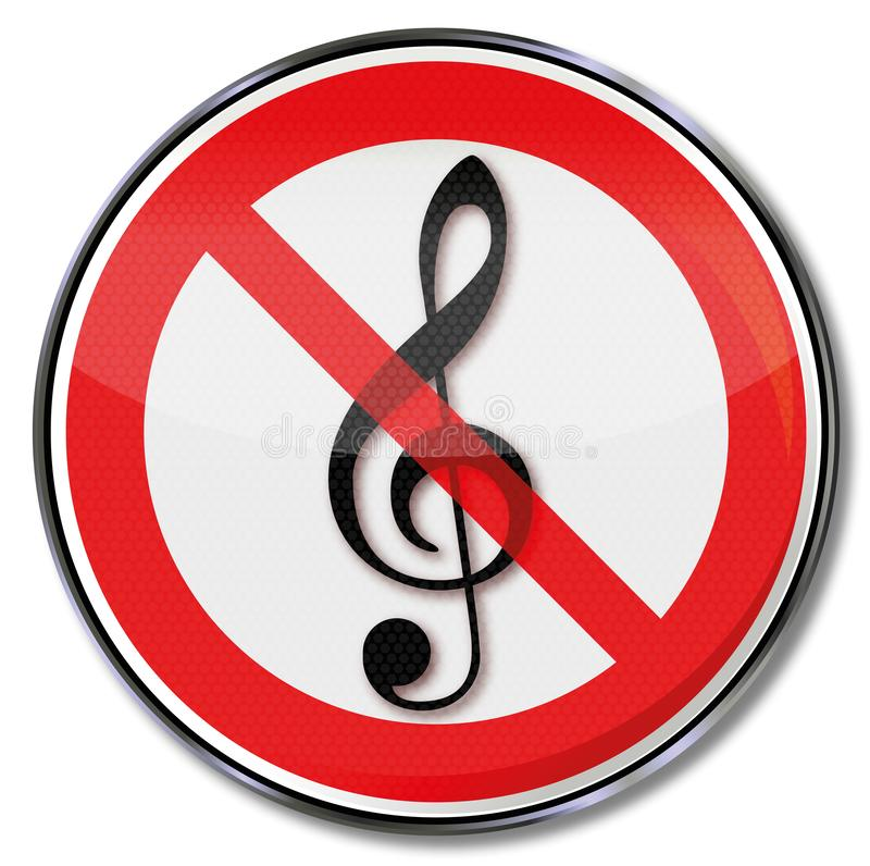 Prohibition sign for music. And entertainment stock illustration