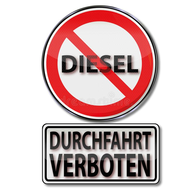 Passage prohibited for diesel vehicles stock illustration