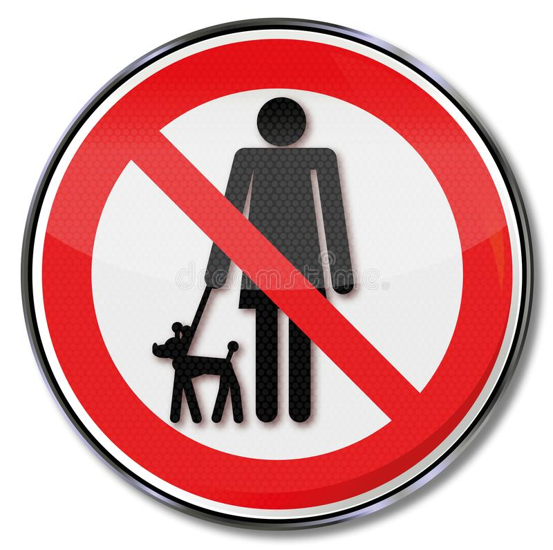 Prohibition for dogs on a leash. Prohibition sign for dogs on a leash vector illustration