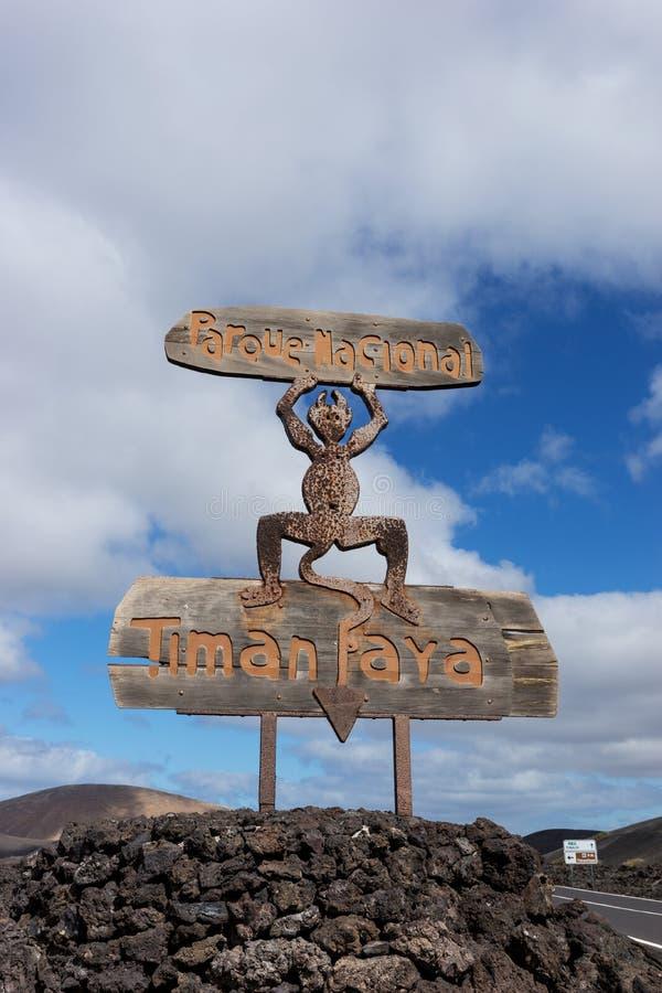 Schild aan het Nationale Park van Timanfaya in Lanzarote Canarische Eilanden stock foto
