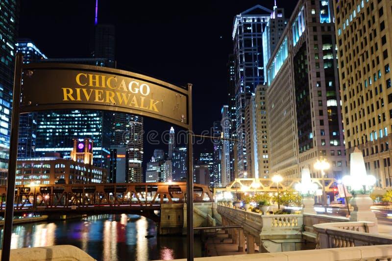 Schild-Chicago-riverwalk lizenzfreies stockbild