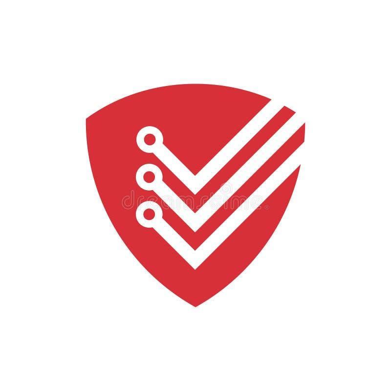 Schild-Computer-Internet-Technologie-Sicherheits-Logo stock abbildung