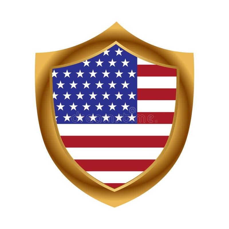 Schild der amerikanischen Flagge und des Goldes Ikone auf Lager Auch im corel abgehobenen Betrag stock abbildung