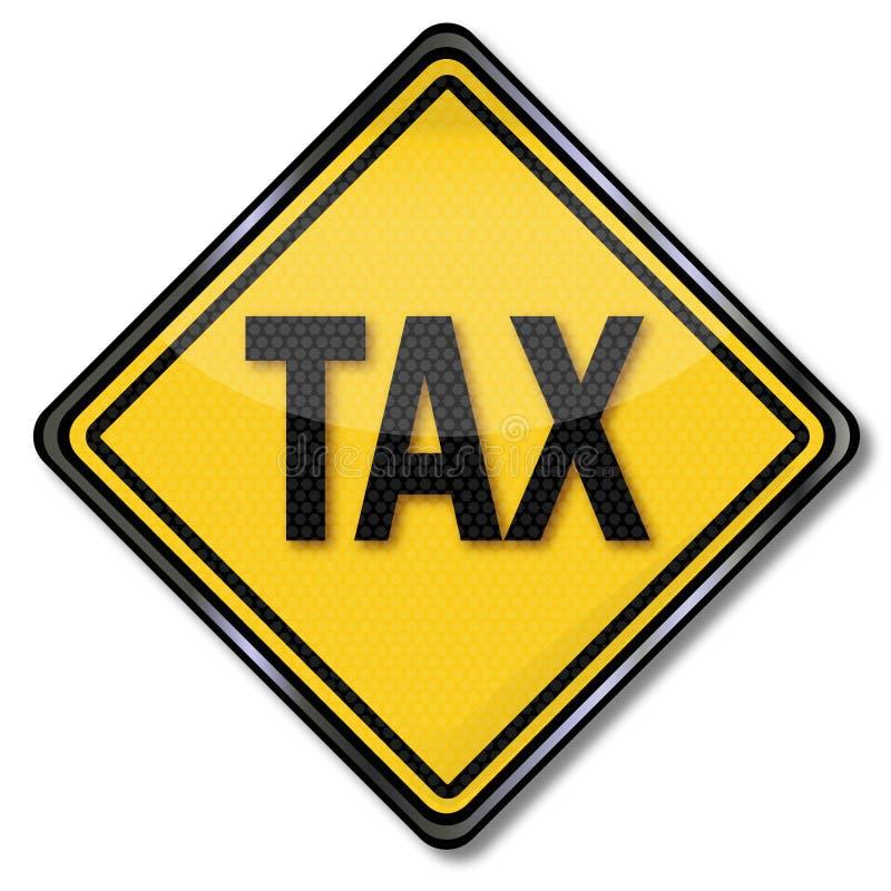 Schild en belastingen stock illustratie