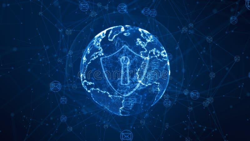 Schild en e-mailpictogram op veilig mondiaal net, Cyber-veiligheidsconcept r stock illustratie