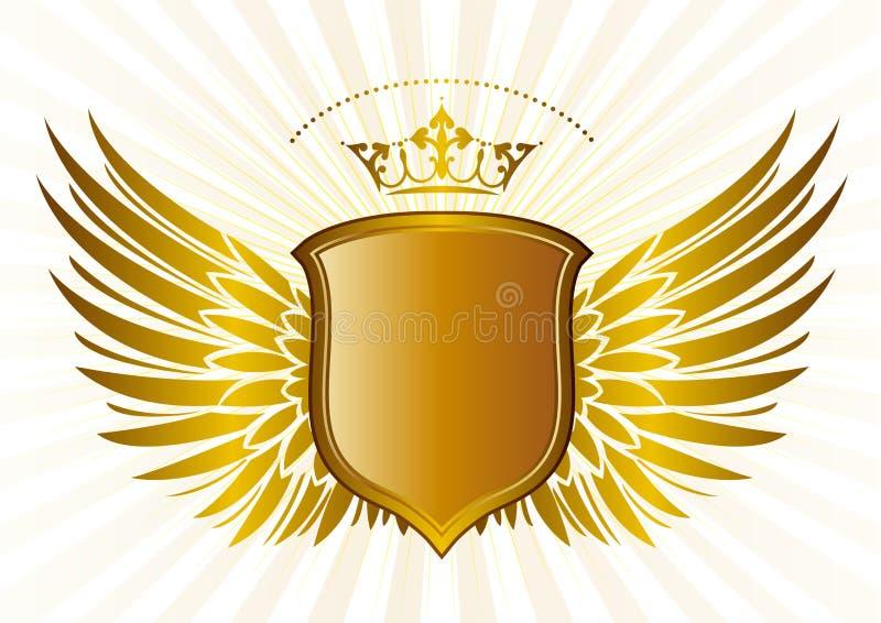 Schild en kroon, vleugelspatroon stock illustratie