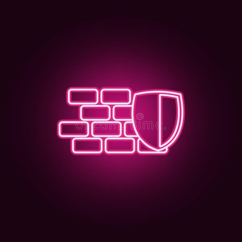 schild en muurpictogram Elementen van cyberveiligheid in de pictogrammen van de neonstijl Eenvoudig pictogram voor websites, Webo stock illustratie
