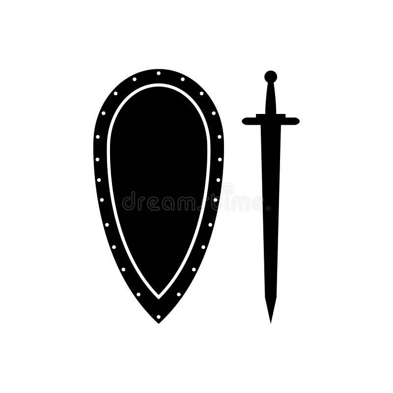 Schild en zwaard geïsoleerd pictogram royalty-vrije illustratie