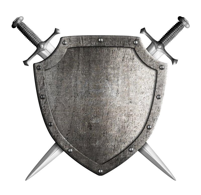 Schild en zwaard van de wapenschild het het middeleeuwse ridder royalty-vrije stock afbeelding