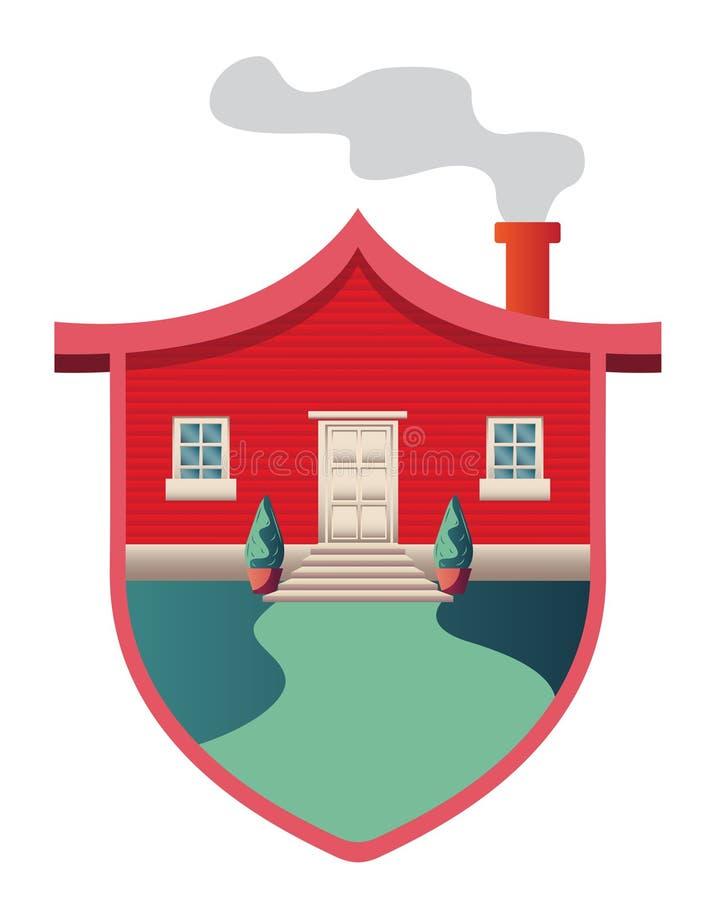Schild gestalte gegeven huis Bescherming Huis vector illustratie
