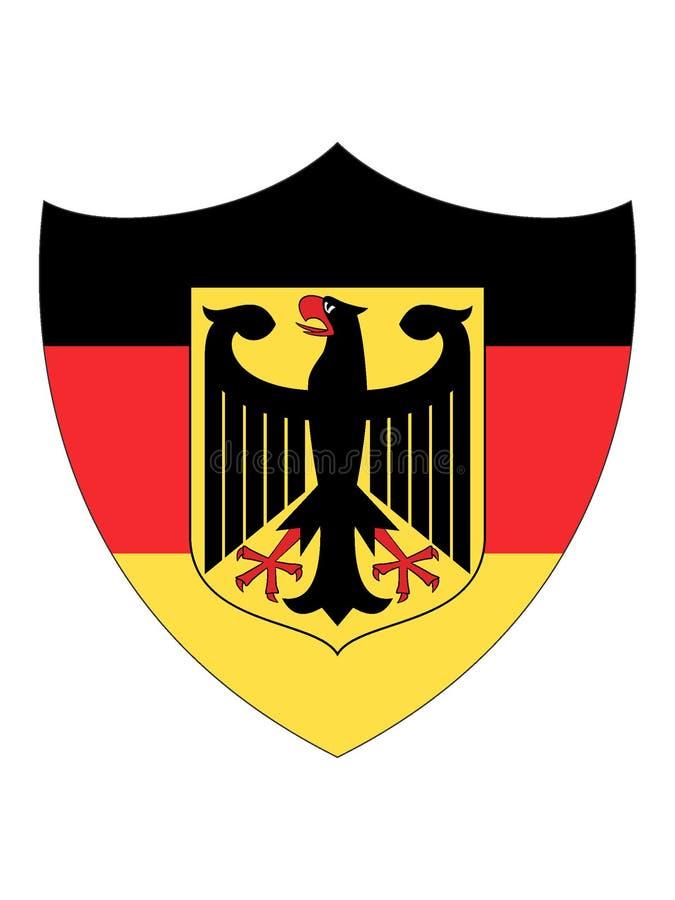 Schild Gevormde Vlag van Duitsland met Wapenschild vector illustratie