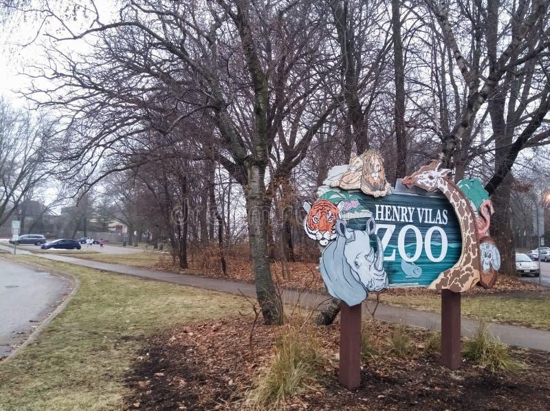 Schild Henry Vilas Zoos in Madison, Vereinigte Staaten stockfotografie