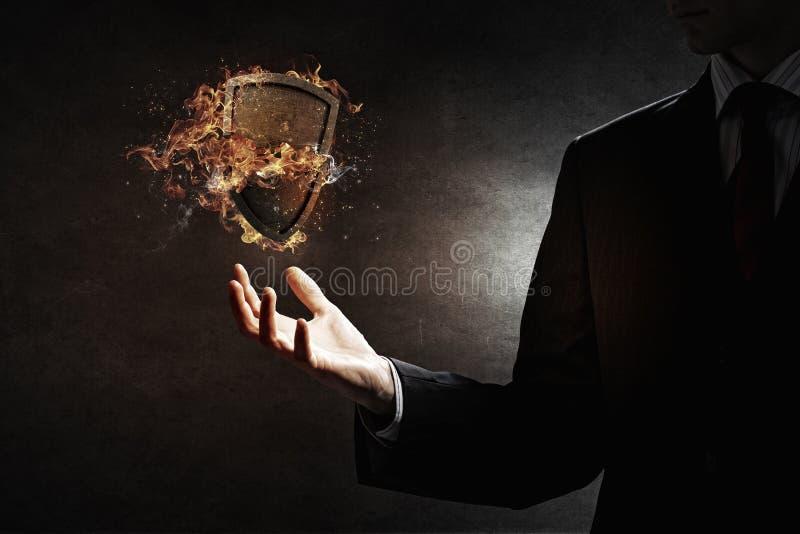 Schild het branden in brand Gemengde media royalty-vrije stock foto