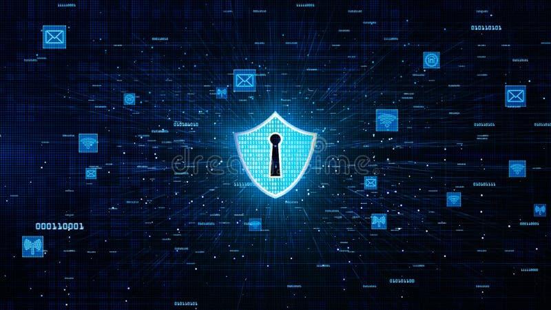 Schild-Ikone und sichere Netz-Kommunikation, Internetsicherheits-Konzept lizenzfreie abbildung