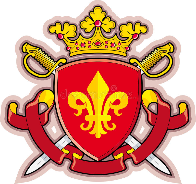 Schild, Linten, Kroon, Wapenkunde fleur-DE royalty-vrije illustratie