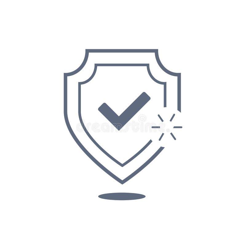 Schild met de dunne lijn van het vinkjepictogram voor Web en mobiel, modern minimalistic vlak ontwerp Vector donker grijs pictogr royalty-vrije illustratie
