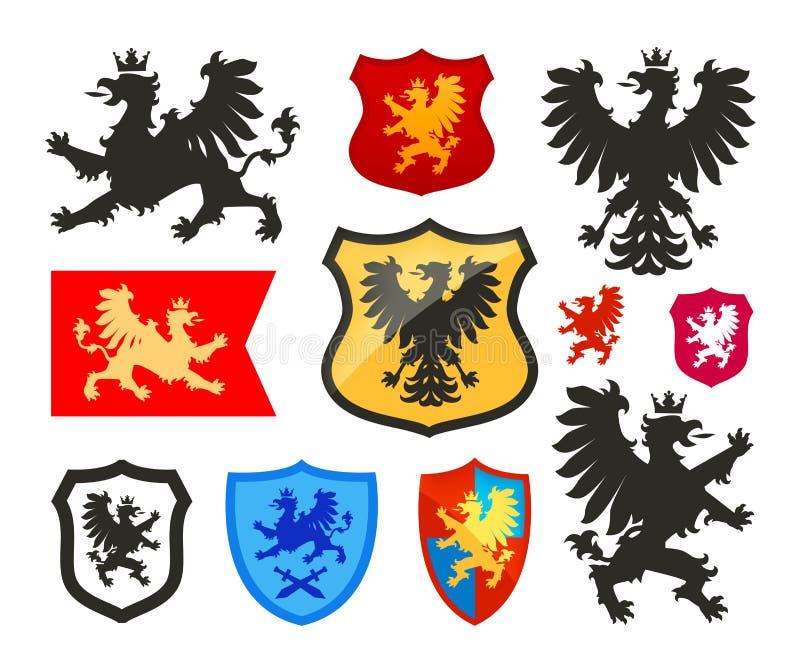 Schild met griffioen, gryphon, adelaars vectorembleem Wapenschild, wapenkunde vastgestelde pictogrammen royalty-vrije illustratie