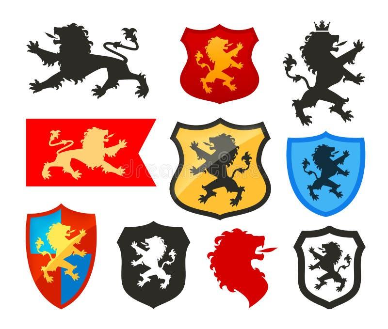 Schild met leeuw, wapenkunde vectorembleem Wapenschildpictogrammen royalty-vrije illustratie