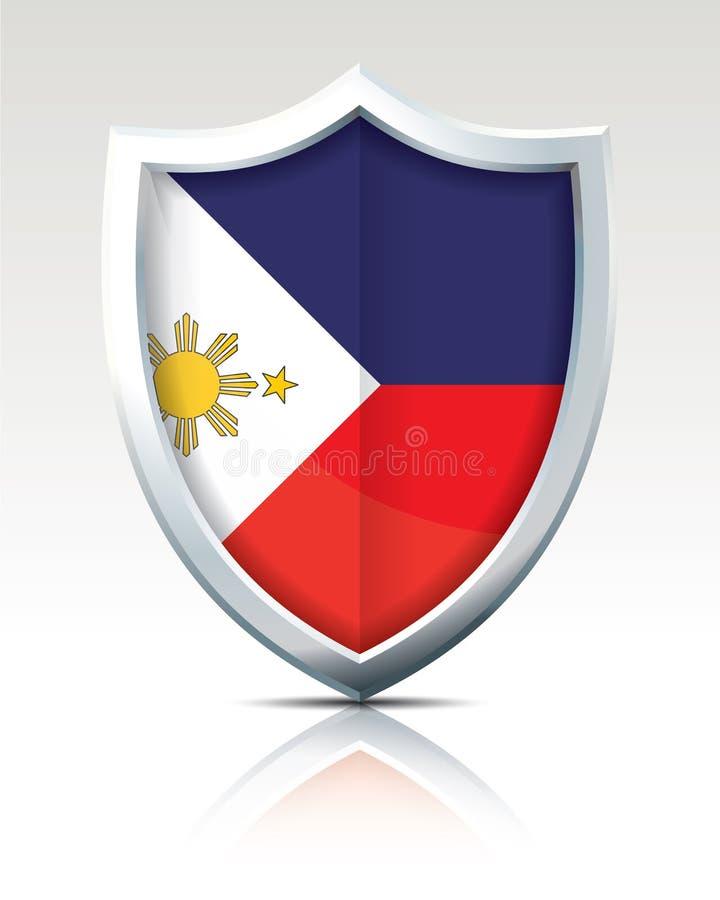 Schild met Vlag van Filippijnen stock illustratie