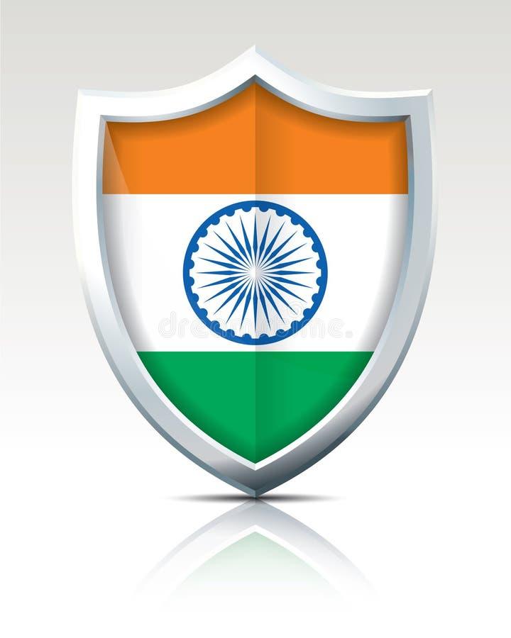 Schild met Vlag van India stock illustratie