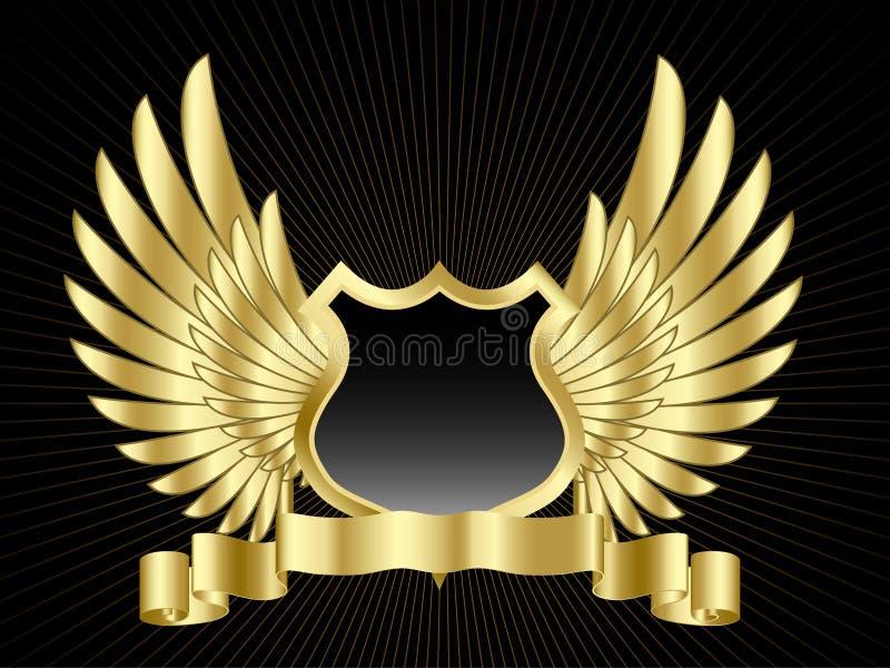 Schild met vleugels stock illustratie