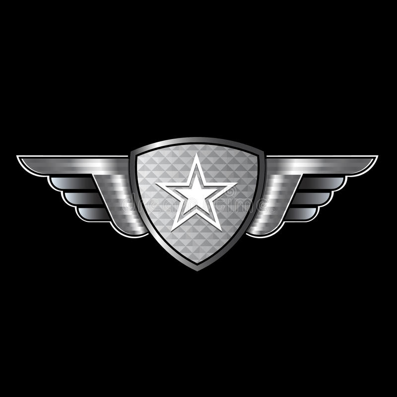 Schild met vleugels en ster royalty-vrije illustratie