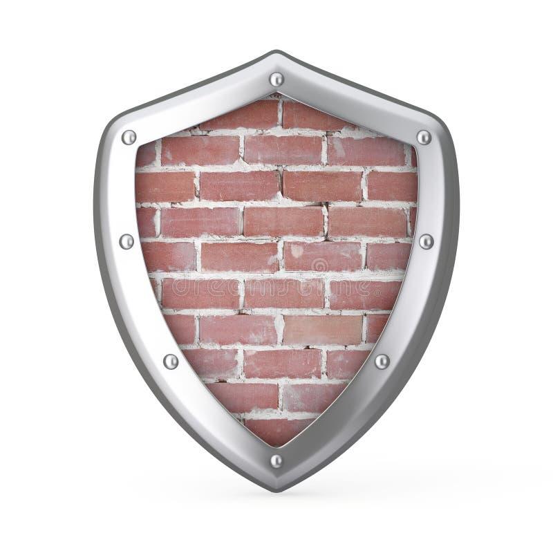 Schild mit Backsteinmauer nach innen Wiedergabe 3d vektor abbildung