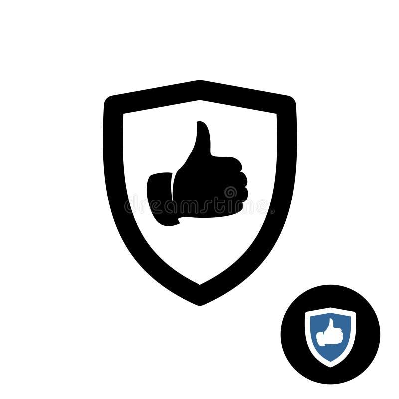 Schild mit der gleichen Hand greift herauf Ikone ab vektor abbildung