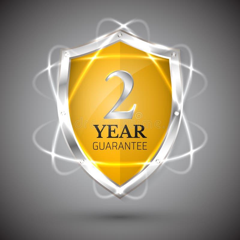 Schild mit einer 2-jährigen Ikone der Garantie Garantie-Aufkleberverpflichtungen Schutzzeichen Schützen Sie Ausweis Sicherheits-V stock abbildung