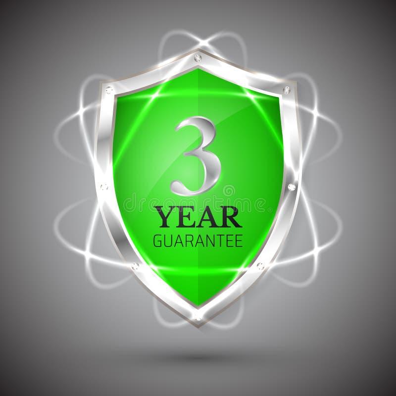 Schild mit einer 3-jährigen Ikone der Garantie Garantie-Aufkleberverpflichtungen Schutzzeichen Schützen Sie Ausweis Sicherheits-V lizenzfreie abbildung