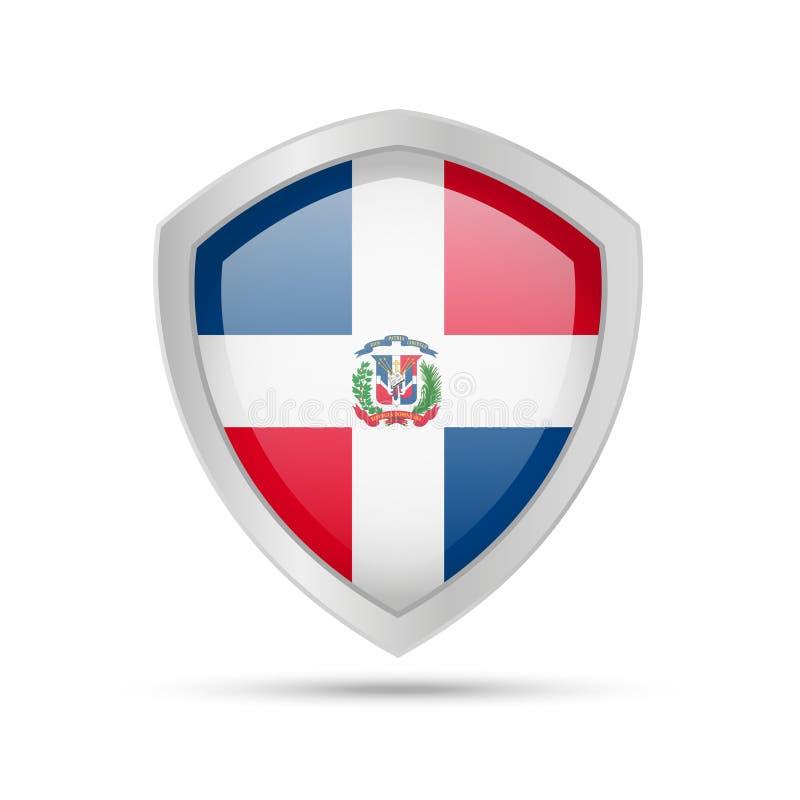 Schild mit Flagge der Dominikanischen Republik auf weißem Hintergrund stock abbildung