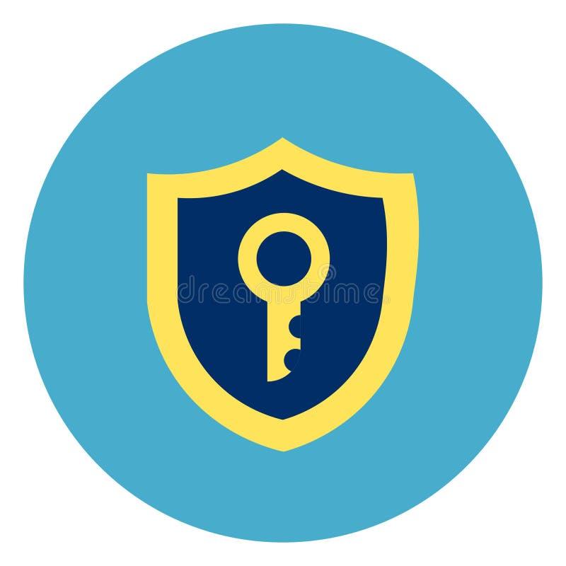 Schild mit Schlüsselikone auf rundem blauem Hintergrund stock abbildung