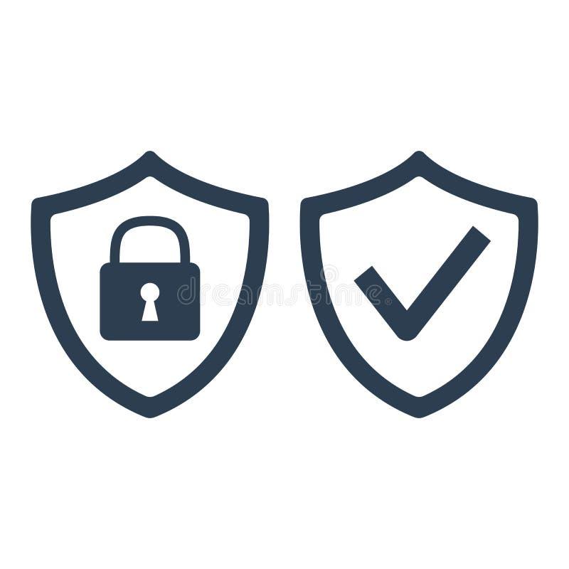 Schild mit Sicherheits- und Häkchenikone auf weißem Hintergrund vektor abbildung