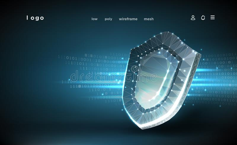 schild Polygonale wireframe Masche Internetsicherheitskonzept, Schutz Schild auf Hintergrund der digitalen Daten vektor abbildung