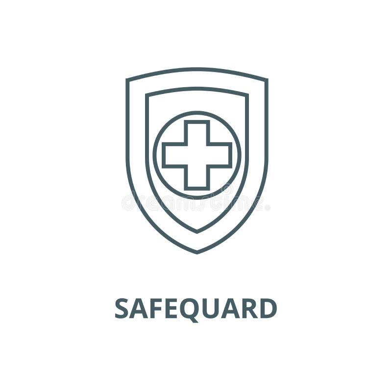 Schild, safequard Vektorlinie Ikone, lineares Konzept, Entwurfszeichen, Symbol lizenzfreie abbildung