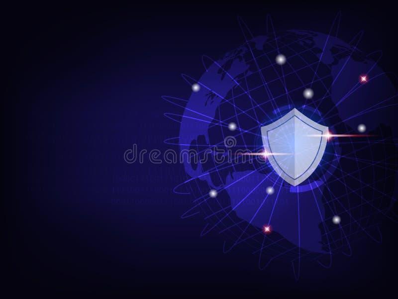 Schild schützen Weltglobales netzwerk auf binär Code-Hintergrund vektor abbildung