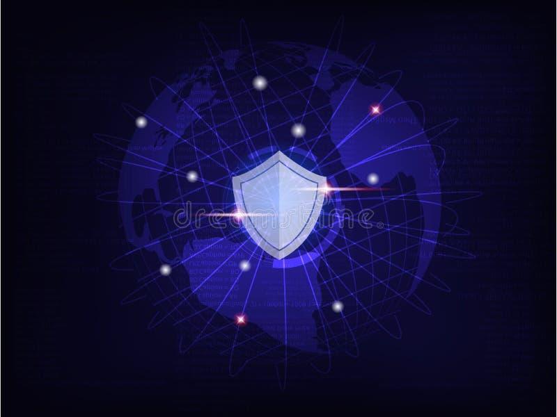Schild schützen Weltglobales netzwerk auf Internet-Codehintergrund lizenzfreie abbildung