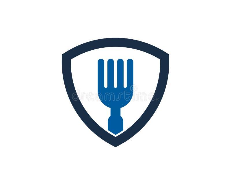 Schild-Schutz Food Icon Logo Design Element stock abbildung