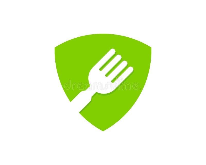 Schild-Schutz Food Icon Logo Design Element vektor abbildung