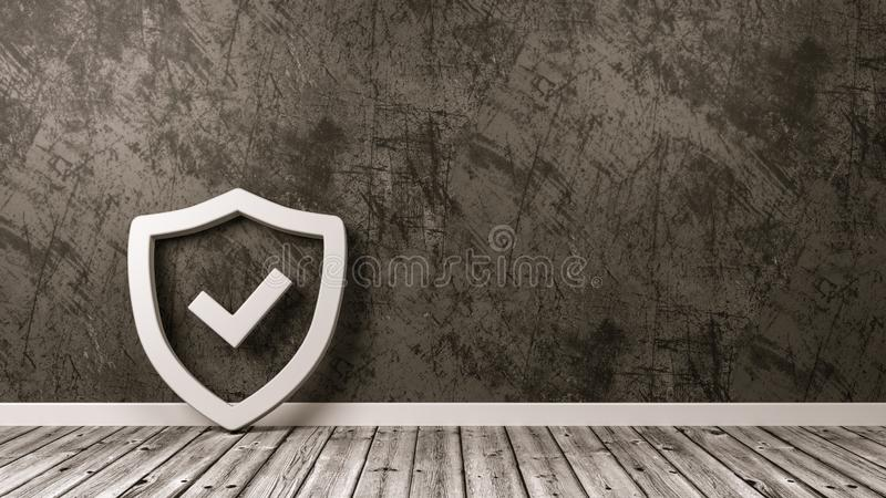 Schild-Symbol auf Bretterboden gegen Wand stock abbildung