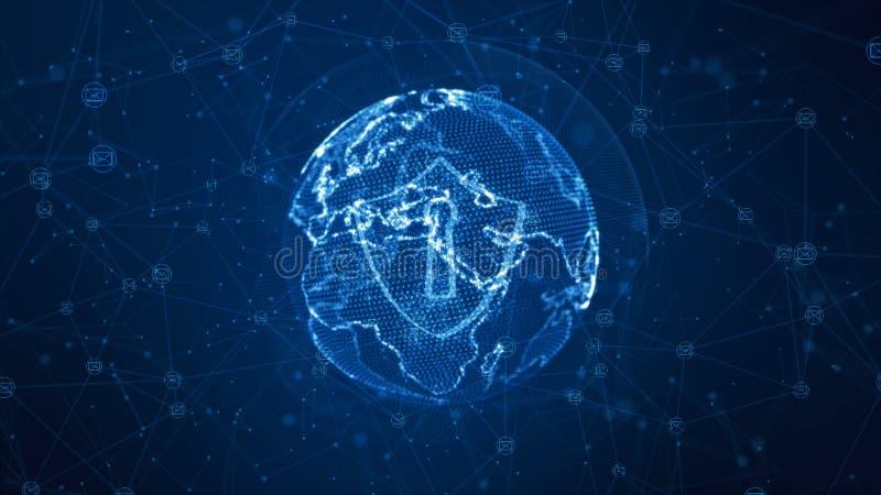 Schild- und E-Mail-Ikone auf sicherem globalem Netzwerk, Internetsicherheitskonzept Erdelement geliefert von der NASA stock abbildung