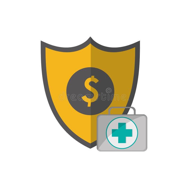 Schild- und Hilfeausrüstungsikone lizenzfreie abbildung
