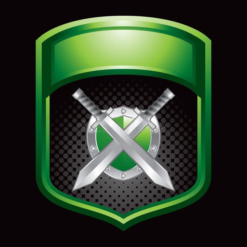 Schild und Klingen in der grünen Bildschirmanzeige stock abbildung