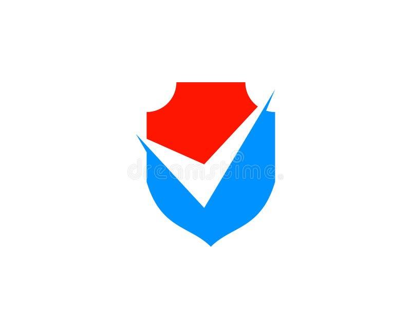 Schild und Kontrolle Mark Icon Vector Logo Template stock abbildung
