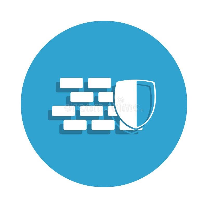 Schild- und Wandikone in der Ausweisart Ein der Internetsicherheitssammlungsikone kann für UI, UX verwendet werden lizenzfreie abbildung