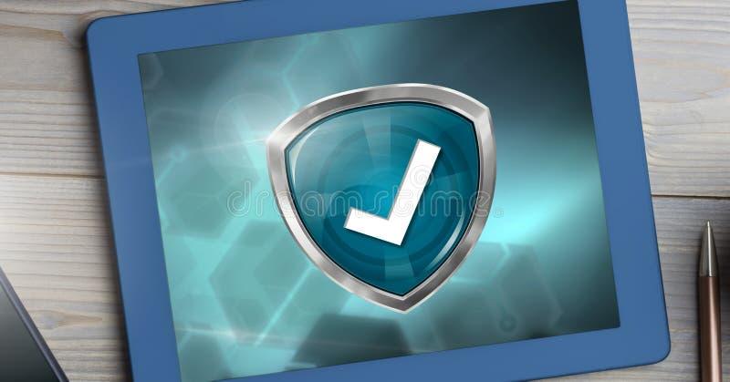 Schild van de kwaliteits het correcte tik op tablet stock foto's
