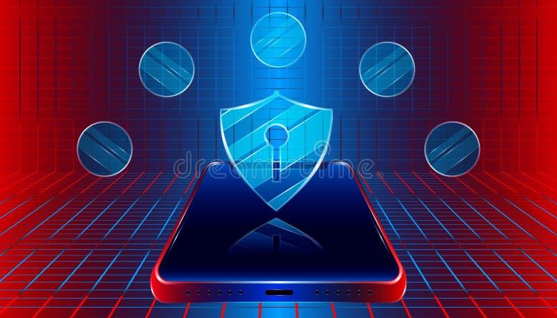 Schild van de luxe beschermt het slimme veiligheid mobiel telefoonconcept ontwerp met van de plaidindustrie kleurrijke stijl als  stock illustratie