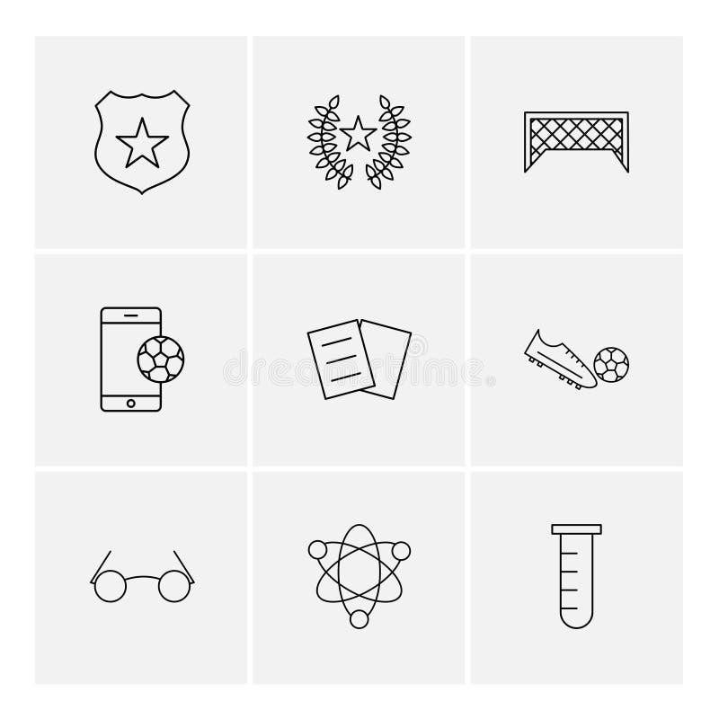 Schild, voetbal, mobiel doel, schop, chemisch, kern, e royalty-vrije illustratie