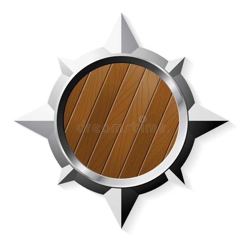 Schild vom Stahl und vom Holz auf Weiß lizenzfreie abbildung