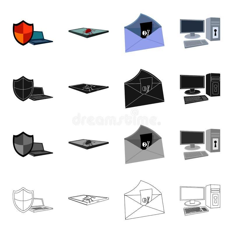 Schild voor computer, virus en tablet, het binnendringen in een beveiligd computersysteem van post, computerapparatuur op het slo vector illustratie
